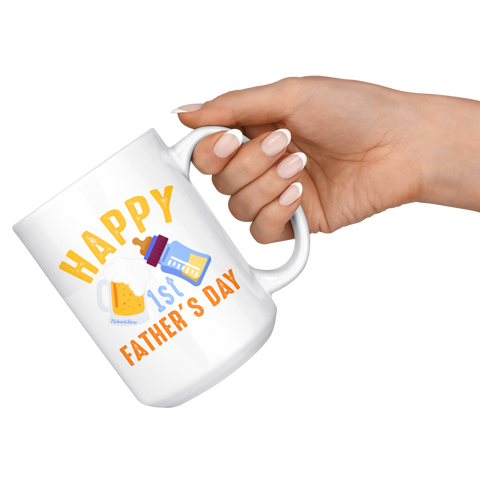 Image of Happy 1st Fathers Day-White Mug - HobnobStore