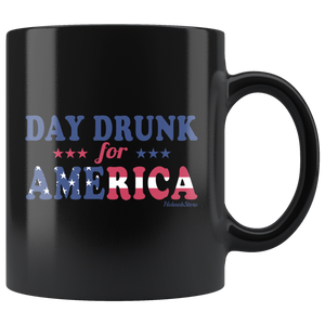 Day Drunk For America-Black Mug - HobnobStore