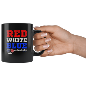Red White and Blue and Vodka Too-Black Mug - HobnobStore