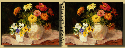 Jacqua Schmich - Zinnias & Pansies - Coffee Mug
