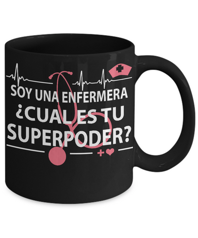 Image of Super Power Nurse-Cual es tu superpoder-Black Mug - Hobnob Store