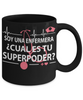Image of Super Power Nurse-Cual es tu superpoder-Black Mug - HobnobStore