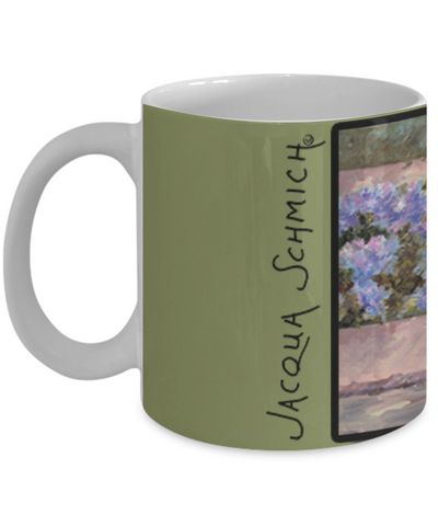 Image of Jacqua Schmich - Garden Gate Wood 1994-Coffee Mug - HobnobStore