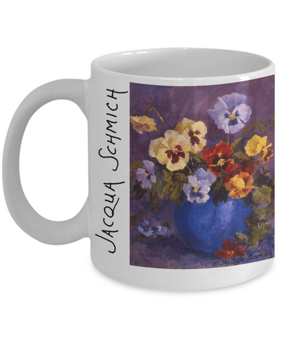 Jacqua Schmich - Pansy Bouquet - Coffee Mug - HobnobStore