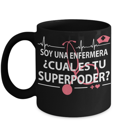 Super Power Nurse-Cual es tu superpoder-Black Mug - HobnobStore