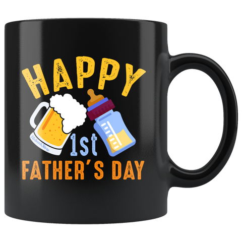 Happy 1st Fathers Day-Black Mug - HobnobStore