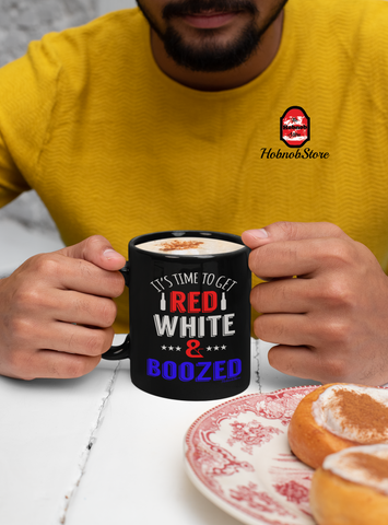Time To Get Red White and Boozed-Black Mug - HobnobStore