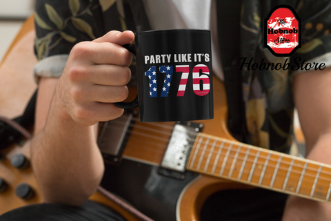 Party Like Its 1776-Black Mug - HobnobStore