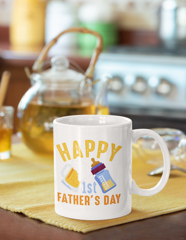 Happy 1st Fathers Day-White Mug - HobnobStore