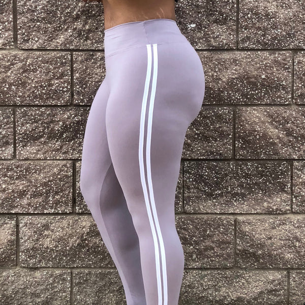 Lavender Gray W/ White Stripes Yoga waist