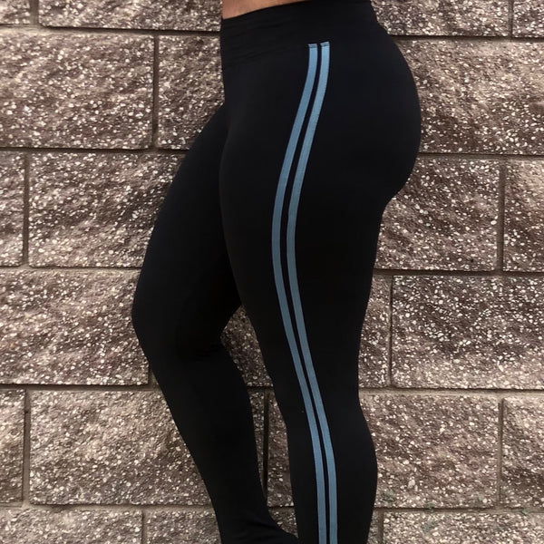 Black W/ Eggshell Stripes Yoga waist
