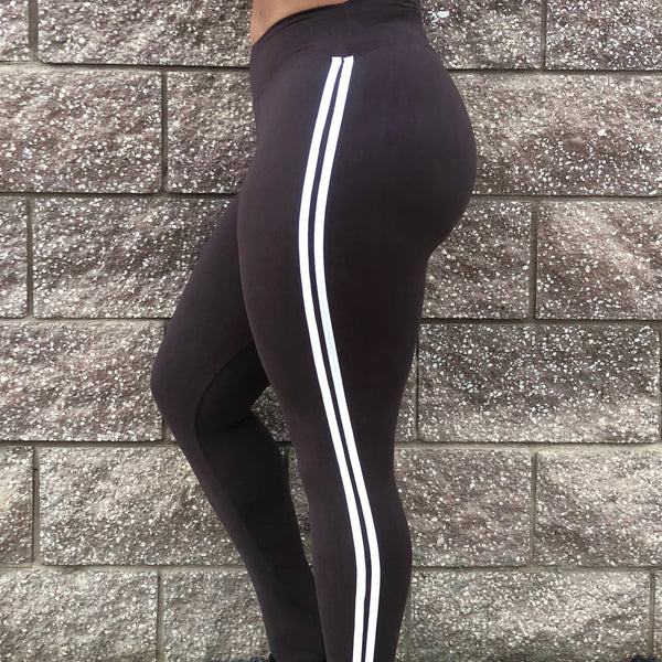 Brown W/ White Stripes Yoga waist