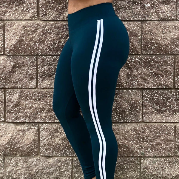 Hunter Green W/ White Stripes Yoga waist
