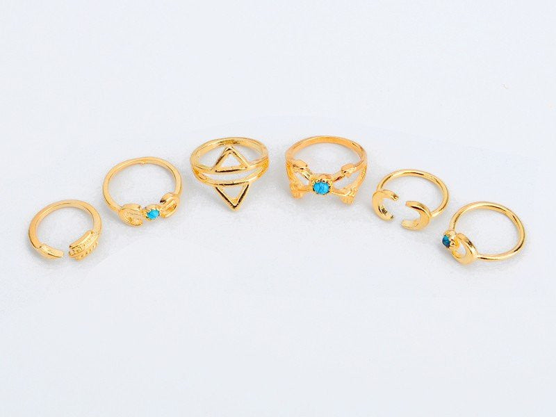 Bohemian Stacked Rings - Gold-color