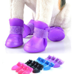 4pcs/set Dog Booties Anti Slip Skid Waterproof Protective Rubber