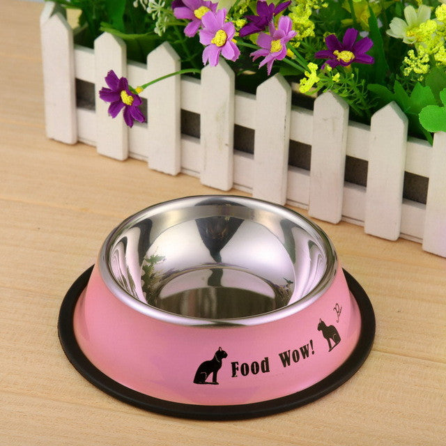 Stainless Steel Coloured Pet Bowl