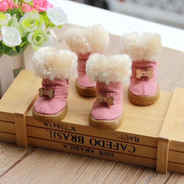 Thick Fur Pet Shoes Small Dog Winter Boots