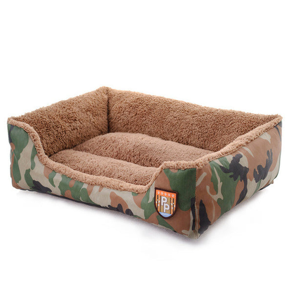 Camouflage Pet Bed Plush Soft Feel