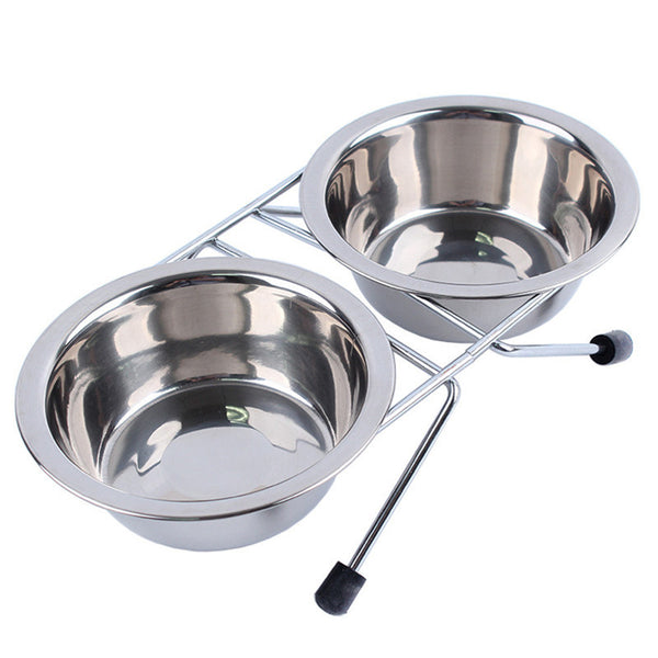 Stainless Steel Pet Dual Food Bowl + Water Dish