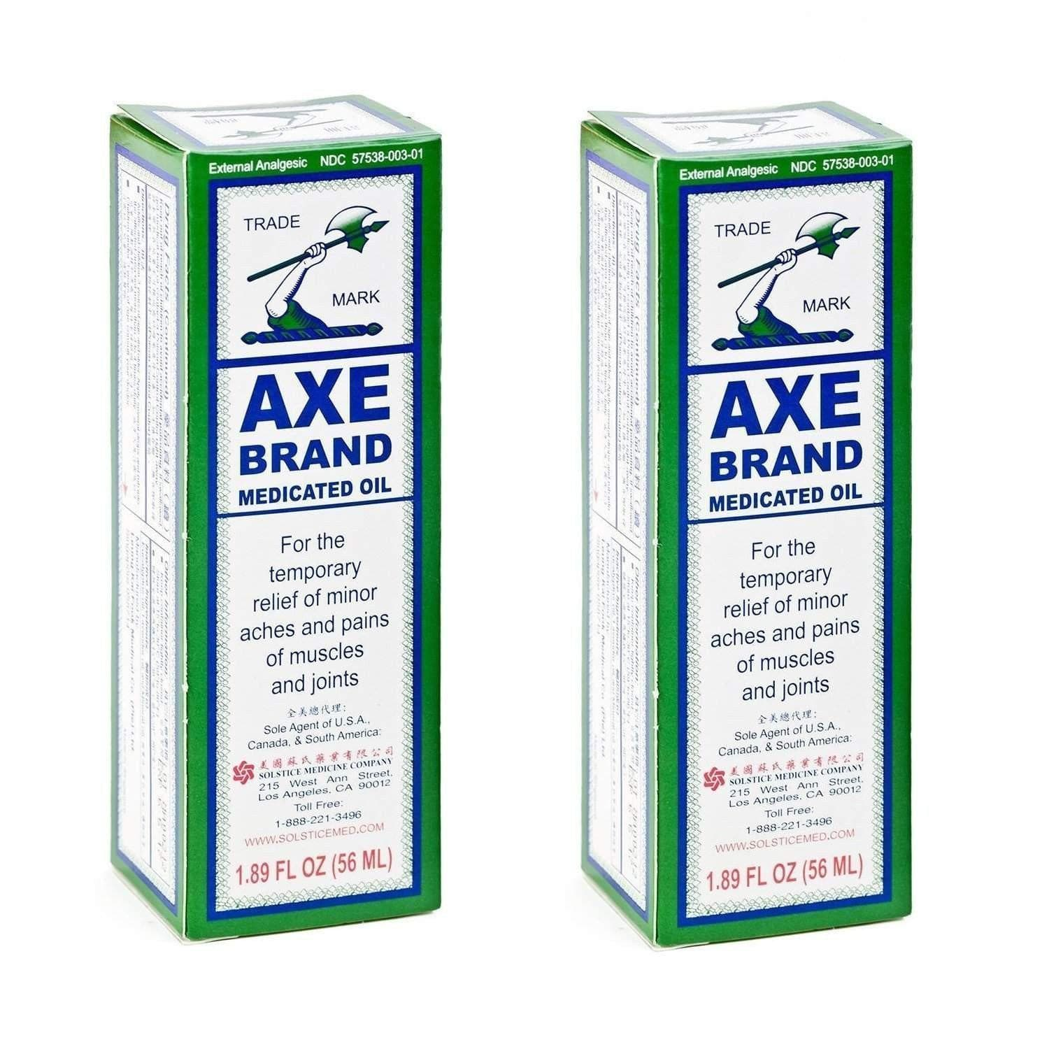 2 Bottles Axe Brand Pain Relieving Oil (1.89 fl. oz)-AXE