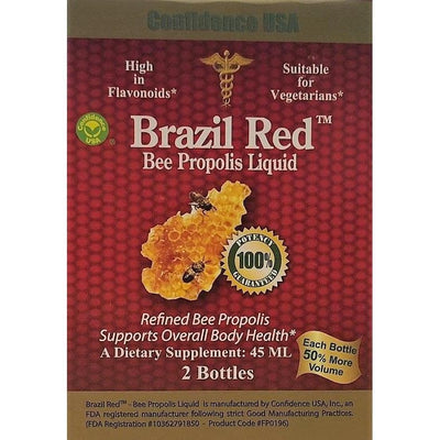 2 Bottles Brazil Red Bee High Concentrate Propolis Liquid (45 ML)-Confidence USA