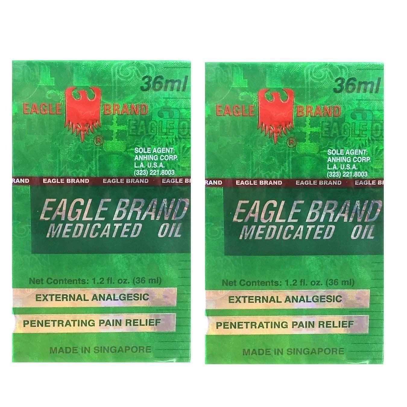 2 Bottles Eagle Brand Medicated Oil, Large Size (1.2oz/36ml)-Buy at New Green Nutrition