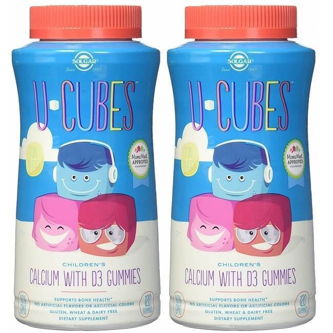 2 Bottles Solgar U-Cubes Children's Calcium with Vitamin D3 (120 Gummies)-Solgar
