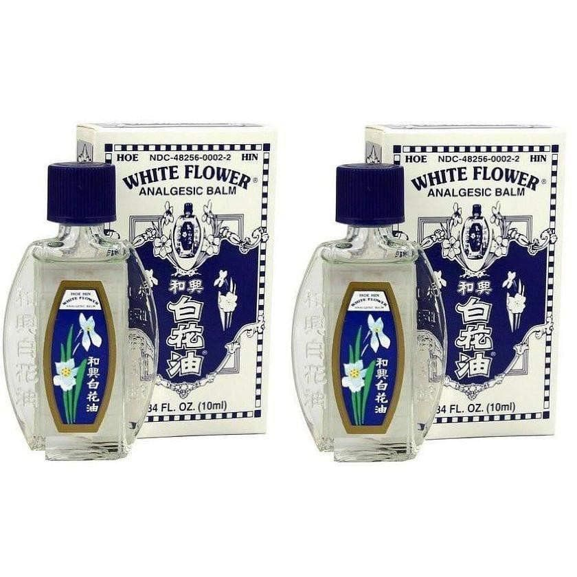 2 Bottles White Flower Analgesic Balm (L) (0.67Fl Oz)-He Yu