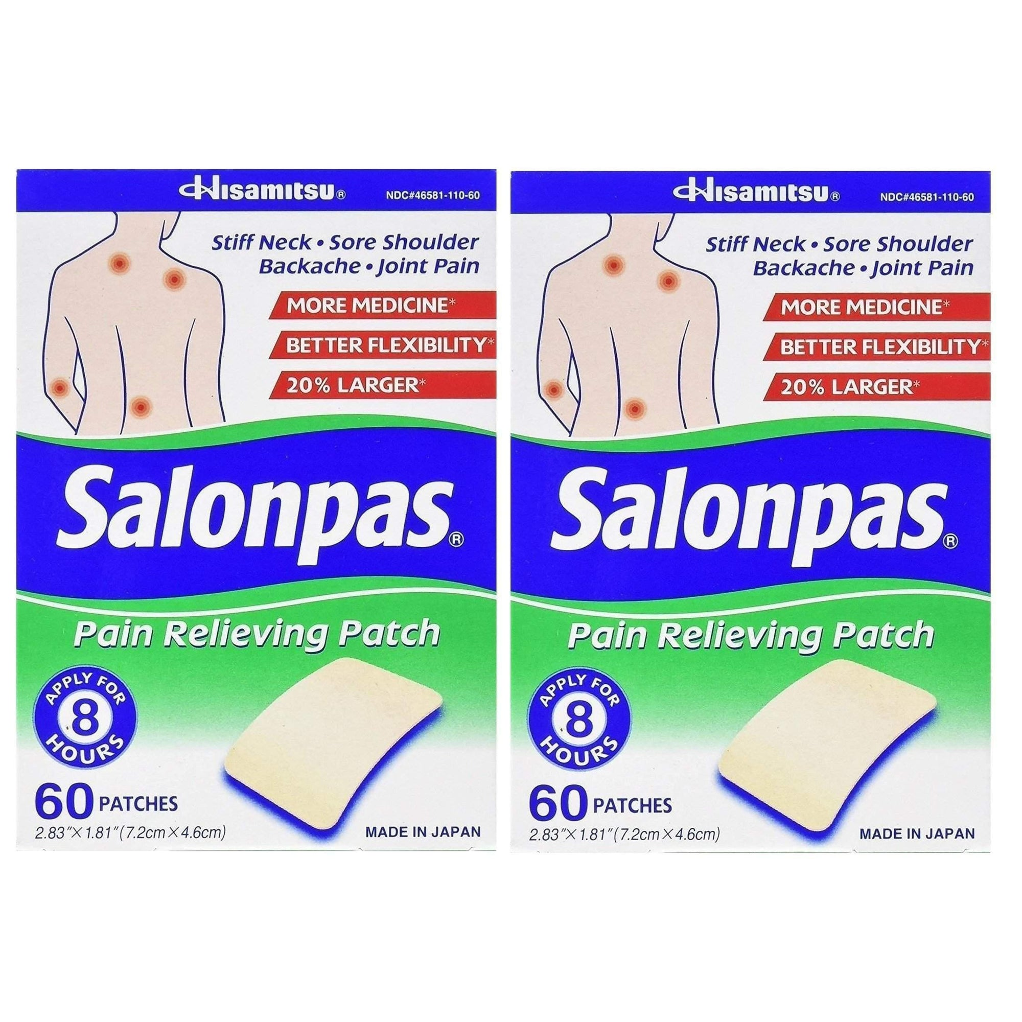 2 Boxes Salonpas Pain Relieving Patch 60 Patches (120 Patches Total)-Buy at New Green Nutrition