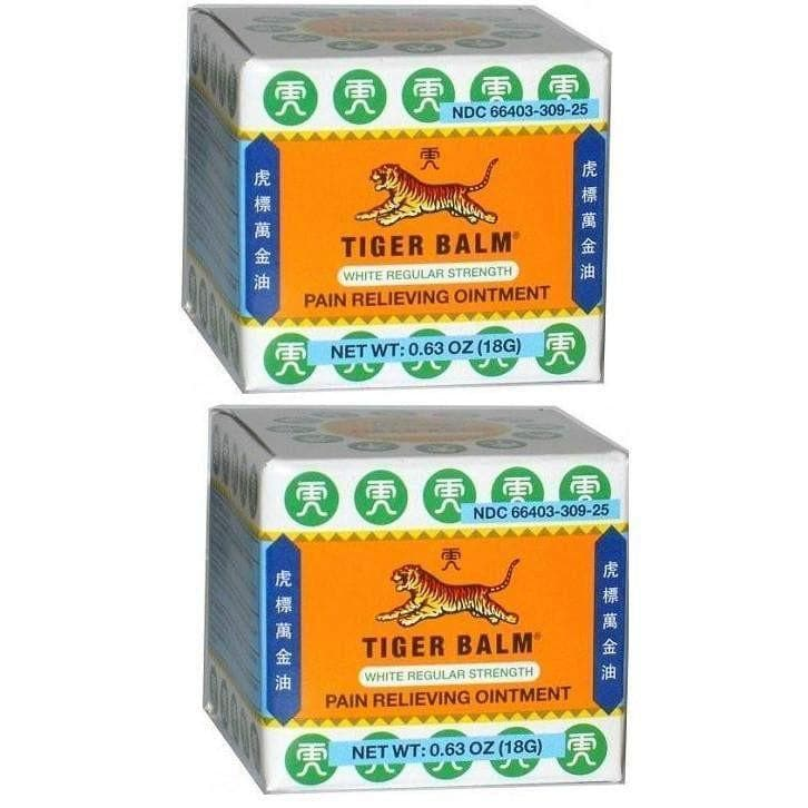 2 Boxes Tiger Balm White Regular Strength Pain Relieving Ointment (0.63 oz)-Buy at New Green Nutrition