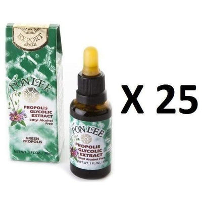 25 Bottles of Pon Lee Brazilian Green Propolis Extract Alcohol Free Wax 40 (30mL)-Buy at New Green Nutrition