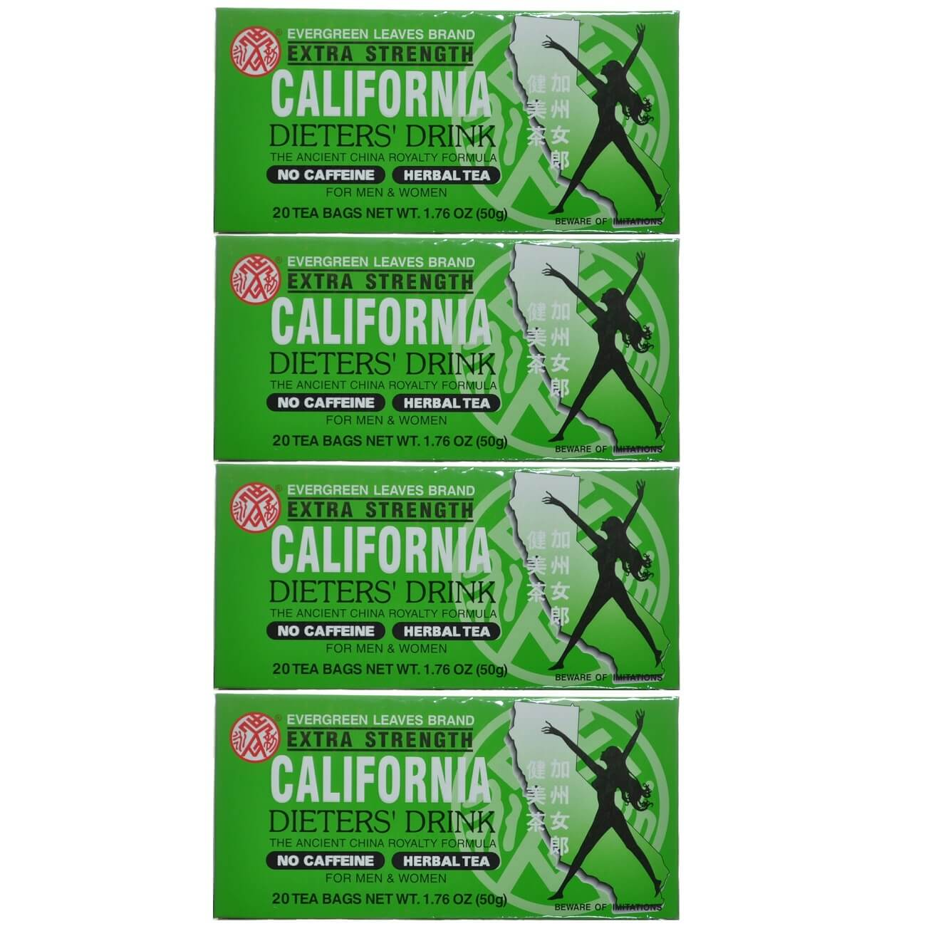 4 Boxes California Dieters' Tea, Extra Strength (20 Tea Bags)-Buy at New Green Nutrition