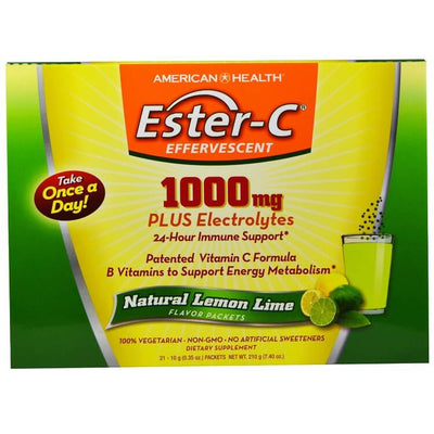 American Health Ester-C 1000MG Plus Electrolytes Natural Lemon Lime (21 Packets) - 2 Boxes-Buy at New Green Nutrition