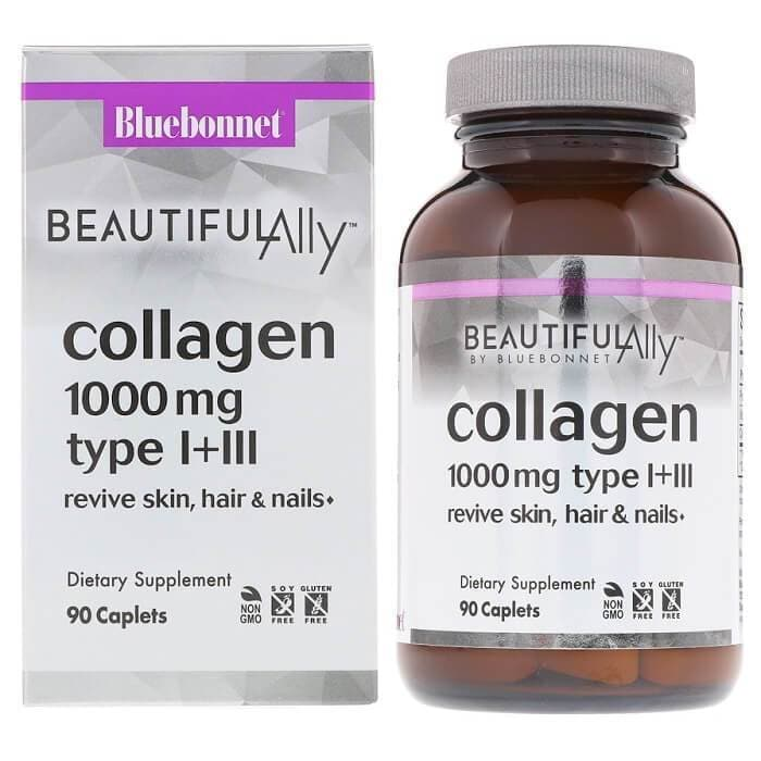 Bluebonnet Beautiful Ally Collagen Type I+III 1000 mg (90 Caplets)-Bluebonnet Nutrition