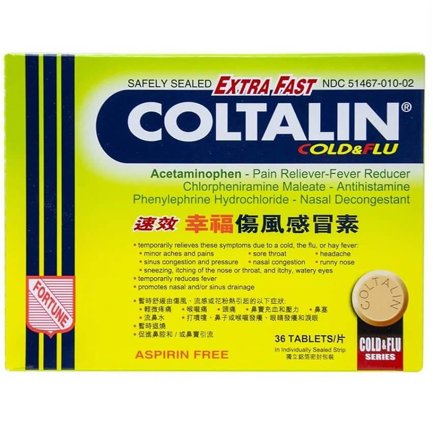 Coltalin Extra Fast Cold & Flu Tablets For Adults (36 Tablets)-Buy at New Green Nutrition