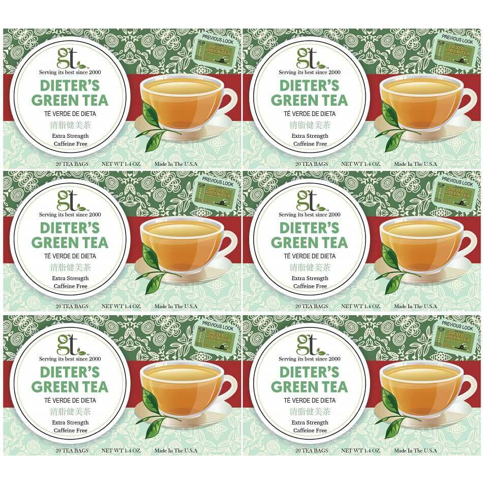 6 Boxes of Dieter's Green Tea Extra Strength, Caffeine Free (20 Teabags)-Buy at New Green Nutrition
