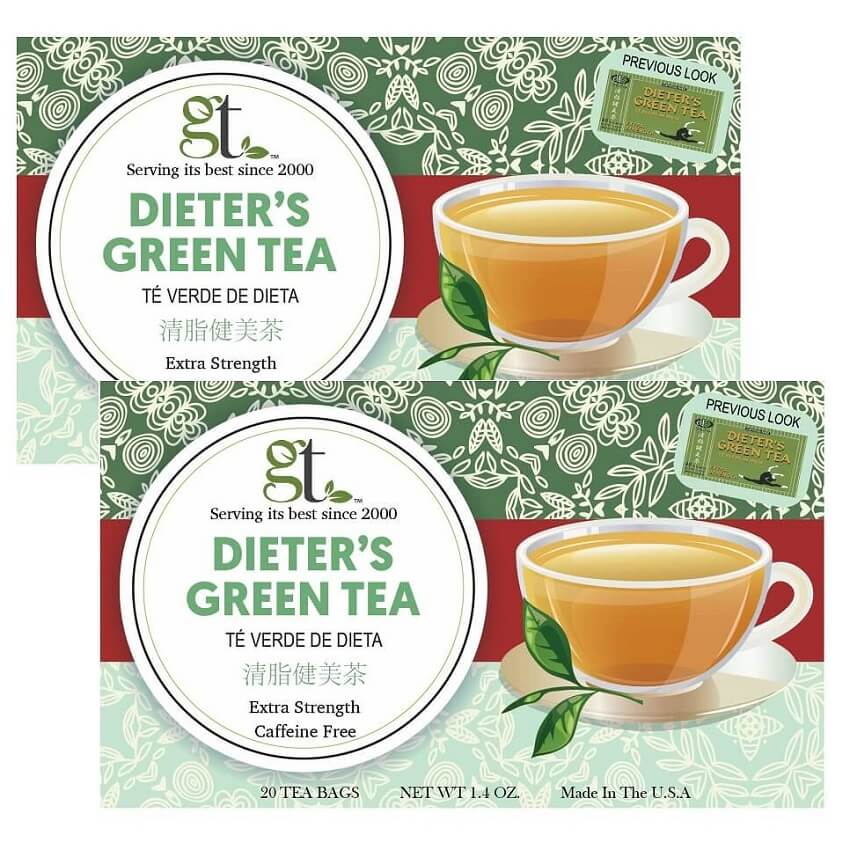 2 Boxes of Dieter's Green Tea Extra Strength, Caffeine Free (20 Tea Bags)-Buy at New Green Nutrition