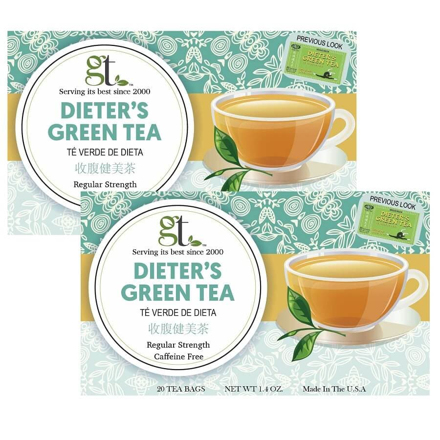 2 Boxes of Dieter's Green Tea Regular Strength, Caffeine Free (20 Tea Bags)-Buy at New Green Nutrition
