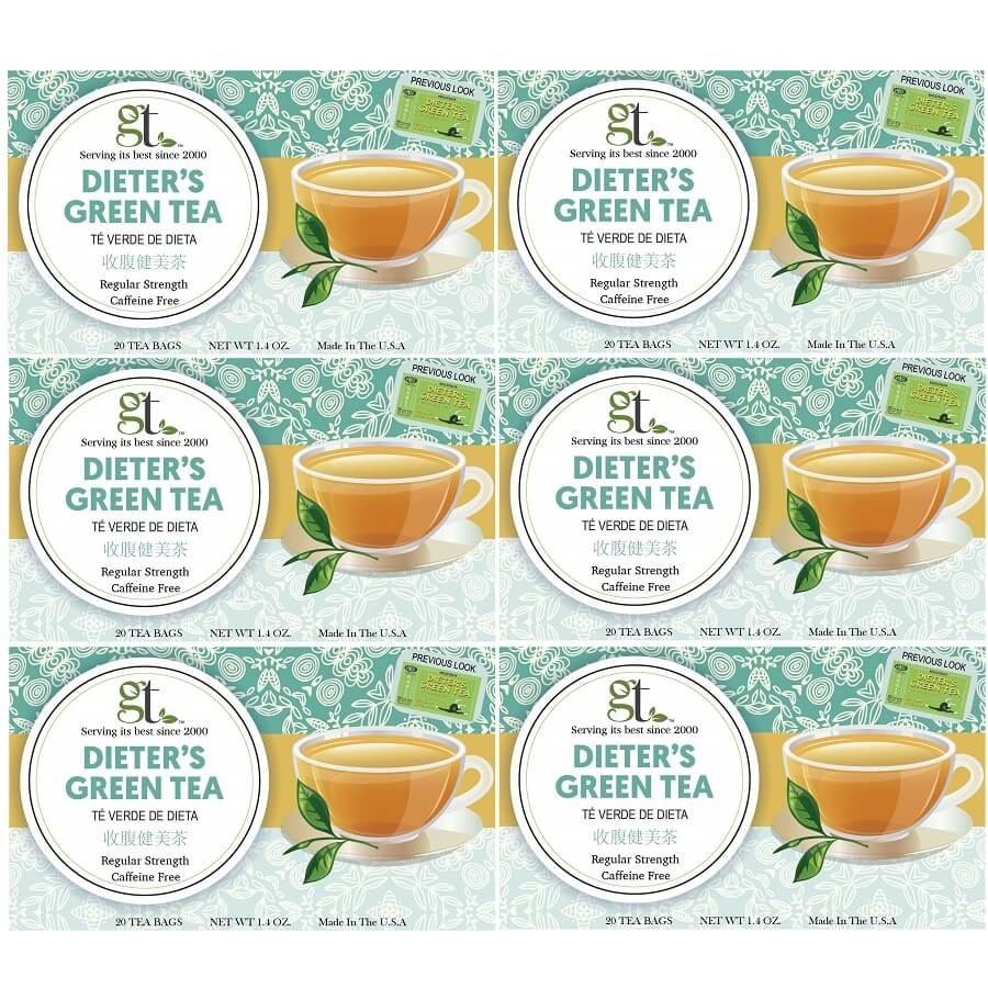 6 Boxes of Dieter's Green Tea Regular Strength, Caffeine Free (20 Tea Bags)-Buy at New Green Nutrition