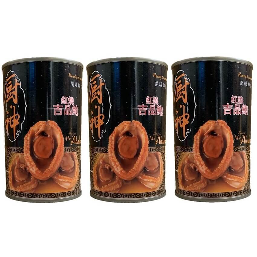 3 Cans Braised Abalone, HACCP Certified (15oz.)-Buy at New Green Nutrition