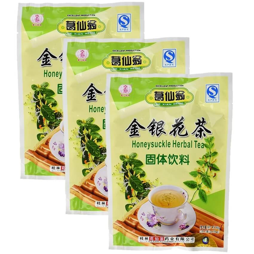 3 Bags Ge Xian Weng Honeysuckle Herbal Tea (16 Packets)-Buy at New Green Nutrition
