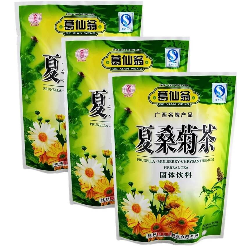 3 Bags Prunella Mulberry Chrysanthemum Herbal Tea (16 Packets)-Buy at New Green Nutrition