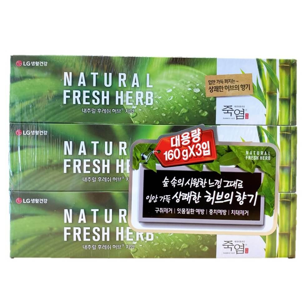 3 Boxes LG Natural Bamboo Salt Toothpaste Fresh Herb Scent (160g), Total 480g-Buy at New Green Nutrition