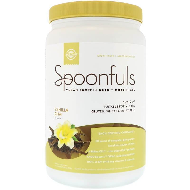 Solgar Spoonfuls Vegan Protein Vanilla Chai (20.24 oz)-Buy at New Green Nutrition
