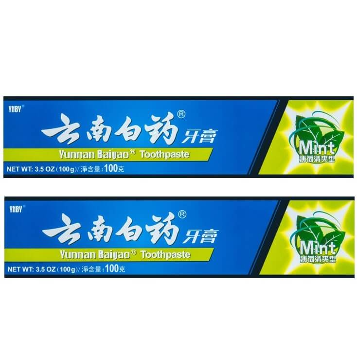 2 Boxes Yunnan Baiyao Mint Toothpaste (100g)-Buy at New Green Nutrition