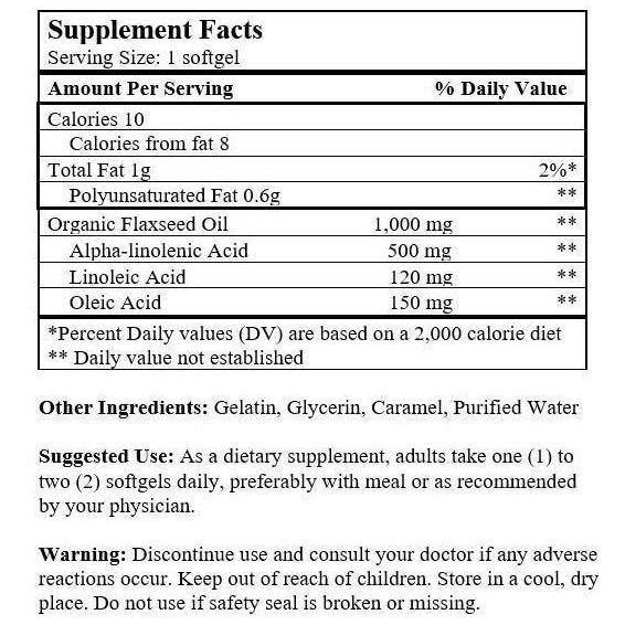 Flaxseed Oil (200 Softgels)-Nu Health