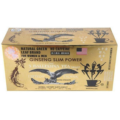 Ginseng Slim Power 3 Ballerina Tea (18 Teabags) - 2 Boxes-Buy at New Green Nutrition