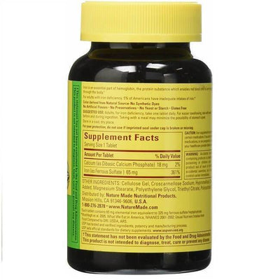 Nature Made Iron 65mg (365 Tablets)-Buy at New Green Nutrition
