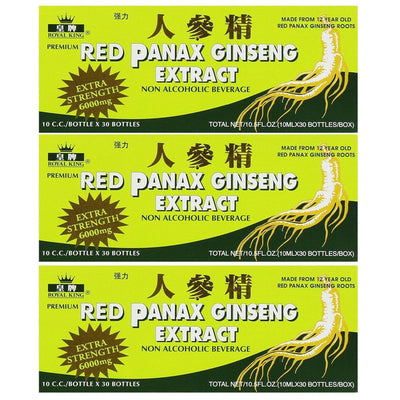 Royal King Red Panax Ginseng Extract 6000mg (30 Vials X 10ml) - 3 Boxes-Buy at New Green Nutrition