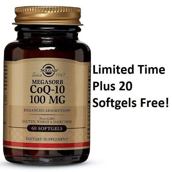 Solgar Megasorb CoQ-10 100 mg (60 Softgels) Additional 20 Softgels Free-Solgar